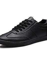 Men's Sneakers Spring / Fall Comfort PU Athletic Flat Heel Black / White Walking / Running