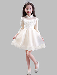 A-line Knee-length Flower Girl Dress - Satin / Tulle 3/4 Length Sleeve High Neck with Appliques / Pearl Detailing