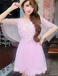 Women's Formal Cute Lace Dress,Solid V Neck Above Knee Sleeveless Pink Polyester Summer