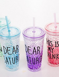 Summer Ice Cup Glass Straw Cup Juice Handy Cup (Random Color)