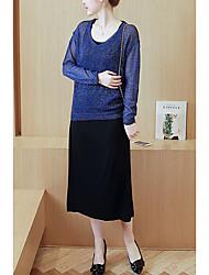 Maternidad Corte Ancho / Recto Vestido Noche / Casual/Diario Simple,Un Color Escote Redondo Midi Manga Larga Azul / RosaAcrílico /
