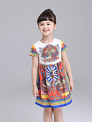 KIMOCAT  Girl's Casual/Daily Print Dress,Cotton Summer Red / White
