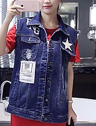 Women's Casual/Daily Street chic Spring / Fall Denim Jackets,Solid Shirt Collar Sleeveless Blue Cotton Medium