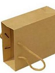 jaune sacs kraft sac en papier publicitaires personnalisés traversent un paquet de dix 15x6x12