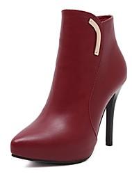 Women's Boots Fall Winter PU Office & Career Casual Stiletto Heel Zipper Black Red Other