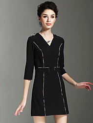 BURDULLY® Femme Col en V Manches 3/4 Mini Robes-1665