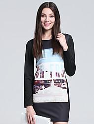 Mujer Vaina Vestido Discoteca Simple,Estampado Escote Redondo Mini Manga Larga Negro Algodón Otoño Tiro Alto Microelástico Fino