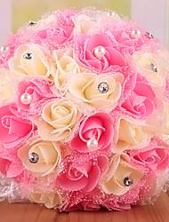 Fleurs de mariage Rond Roses Bouquets Mariage Polyester Env.23cm