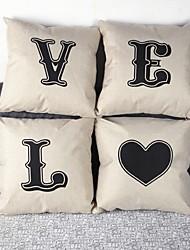 Set Of 4 L.O.V.E Linen Pillow Cover