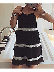Women's Casual/Daily Simple Little Black Dress,Striped Strap Above Knee Sleeveless Black Polyester Spring / Summer