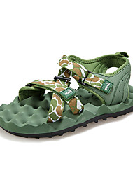 Men's Sandals Summer Twill Outdoor Flat Heel Hook & Loop Black Blue Light Green Water Shoes