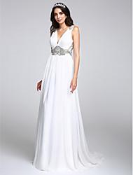 2017 lanting bride® une ligne robe de mariée balayage / train brosse v-cou en mousseline de soie avec cristal / drapé
