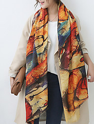 Women Lamb Fur ScarfCasual RectangleKhakiPrint
