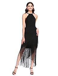 Asymmetrical Georgette Little Black Dress Bridesmaid Dress - Sheath / Column Jewel with Ruffles