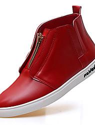 Men's Flats Spring Fall Comfort Microfibre Outdoor Casual Flat Heel Zipper Black Red White