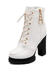 Women's Zipper Round Closed Toe High Heels Pu Solid Boots