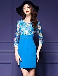 Gaine Robe Femme Décontracté / Quotidien / Grandes Tailles simple,Mosaïque Col en V Au dessus du genou Manches ¾ Bleu Polyester Automne