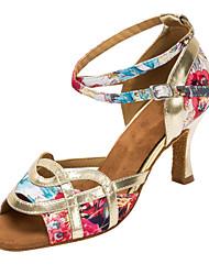 Customizable Women's Latin/Ballroom Dance Shoes Flower Satin Salsa Sandals / Heels Customized Heel Professional