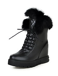 Women's Solid High Heels Lace Up Round Closed Toe Boots