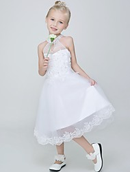 Ball Gown Tea-length Flower Girl Dress - Tulle Sleeveless Halter with Appliques / Sequins