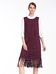 Goelia® Damen Rundhalsausschnitt Ärmellos Knielänge Kleid-167R4A080