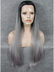 IMSTYLE 30 Extra Long Gray With Black Root Straight Synthetic Lace Front Wigs For Woman