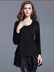 Tee-shirt Aux femmes,Mosaïque Décontracté / Quotidien simple Automne Manches Longues Col Arrondi Rouge / Noir Coton Fin
