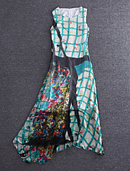 Boutique S Going out Chinoiserie Sheath DressColor Block / Plaid Round Neck Maxi Sleeveless Green Silk