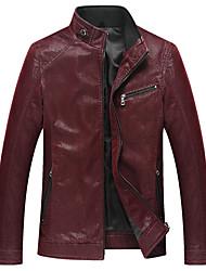 Мужской Полиуретановые Куртка На каждый день / Для офиса / Для торжеств и мероприятий / Для занятий спортом,Однотонный,Длинный рукав,