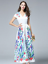 BURDULLY  Women's Formal Chinoiserie DressFloral V Neck Maxi Short Sleeve White Polyester Summer