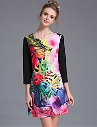 mulheres aufoli talão de impressão bloco de cor tamanho grande da forma do vestido da luva de 3/4 do vintage