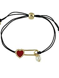 Imitation Pearl Heart Charms Adjustable Braided Rope Bracelets