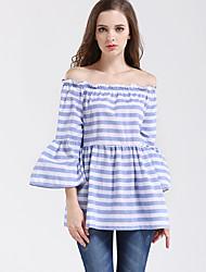 Damen Gestreift Street Schick Ausgehen T-shirt,Bateau Frühling / Herbst ¾-Arm Blau Baumwolle Mittel