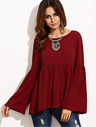 Women's Flare Sleeve Casual/Daily Street chic Spring / Fall BlouseSolid Round Neck Long Sleeve Red Polyester Medium