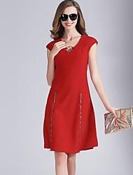 Eosciy® Damen V-Ausschnitt Ärmellos Über dem Knie Kleid-80207