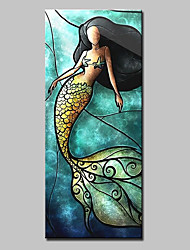 Large Size Hand Painted Modern Abstract Mermaid Oil Painting On Canvas Wall Art With Stretched Frame Ready To Hang