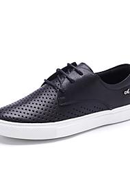 Черный / Розовый / Белый-Женский-Для прогулок / Для офиса / На каждый день-Кожа-На плоской подошве-Удобная обувь / С круглым носком-На