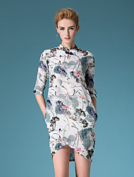 Boutique S Going out Chinoiserie Sheath DressFloral Round Neck Above Knee  Length Sleeve Blue Silk / Polyester Summer