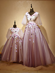 Formal Evening Dress - Mini Me A-line Jewel Floor-length Tulle Charmeuse with Appliques Beading Flower(s)