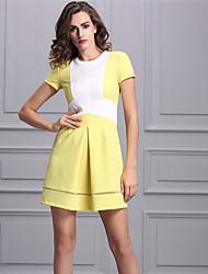 Baoyan Women's Round Neck Short Sleeve Above Knee Dress-888076