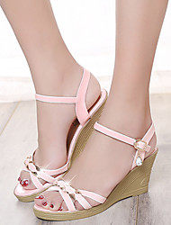 Women's Sandals Summer Comfort PU Casual Wedge Heel Buckle / Chain Blue / Pink Others