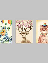 Animal Impressão em tela 3 Painéis Pronto para pendurar,Horizontal