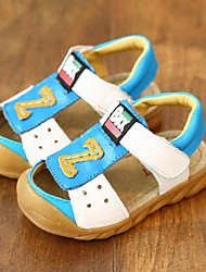 Boy's Sandals Summer Leather Casual Flat Heel Magic Tape Blue Yellow White Walking