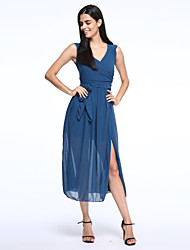 Beach Bodycon Dress,Solid V Neck Maxi Sleeveless Blue / Beige Summer Inelastic Thin