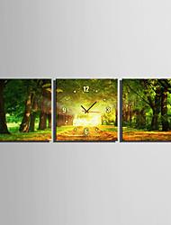 Carré Moderne/Contemporain Horloge murale , Autres Toile40 x 40cm(16inchx16inch)x3pcs/ 50 x 50cm(20inchx20inch)x3pcs/ 60 x