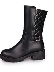 Women's Boots Fall / Winter Fashion Boots Leather Outdoor / Dress Low Heel Zipper Black Walking