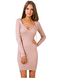Women's Party Sexy Bodycon Dress Solid V Neck Mini Long Sleeve