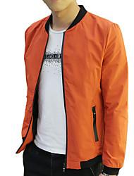 Men's Long Sleeve Casual / Work / Formal Jacket,Cotton Solid Black / Orange