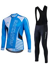 Fastcute® Fahrradtrikot mit Trägerhosen Herrn Langärmelige FahhradAtmungsaktiv / Komfortabel / Leichtes Material / 3D Pad / Tasche auf