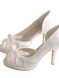 Women's Sandals Spring /  Platform Stretch Satin Wedding / Party & Evening / Dress Stiletto Heel Bowknot Ivory / White